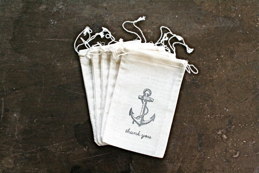 Nautical Favor Bags For Wedding, Shower, Or Party - Rustic Cotton Gift Bags, Vintage Style Anchor, Thank You Drawstring Party Favor Bags
