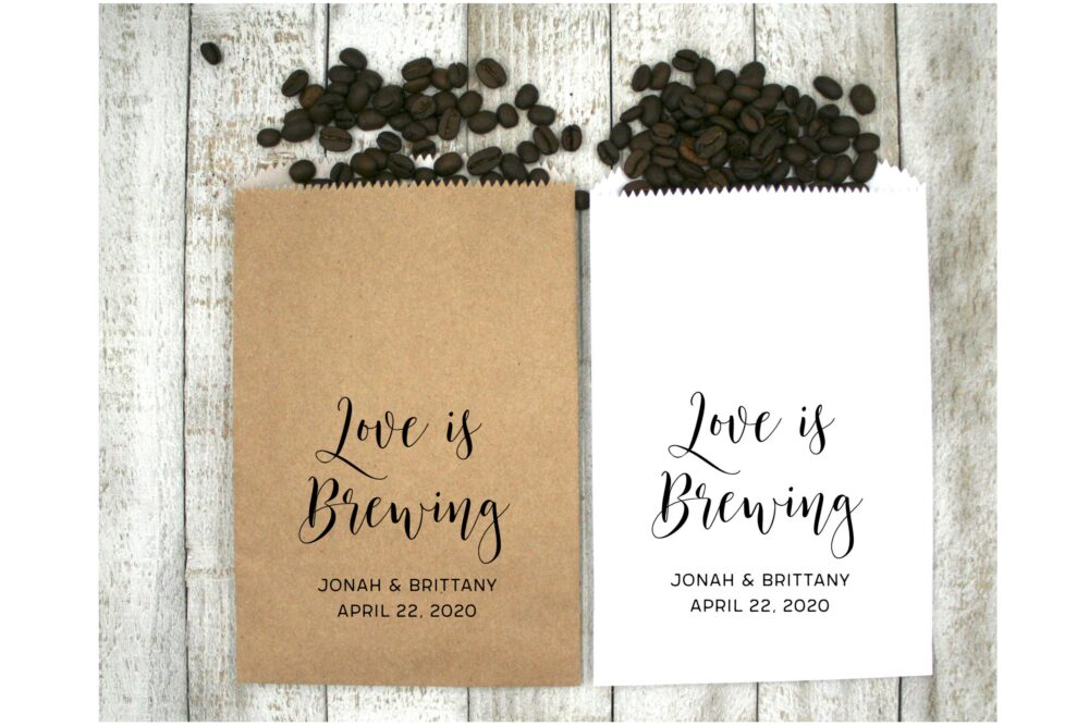 Personalized Favor Bags For Wedding, Shower, Party - 20 Wax Lined Kraft Bags, Brown Or White Love Is Brewing, Coffee Favors Guests