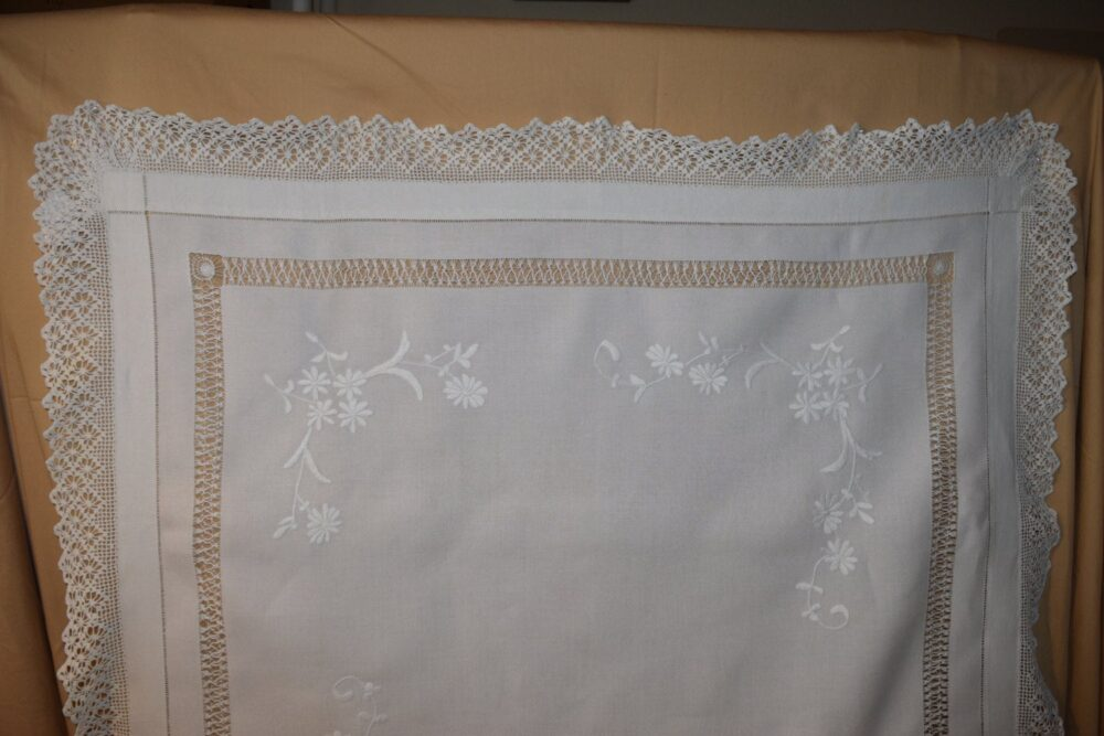 """Antique Early 1900's English Tea Cloth With Hand Made 2 3/4"""" Crocheted Lace Trim & Fine Irish Linen 45"""" By Cstea 10"""