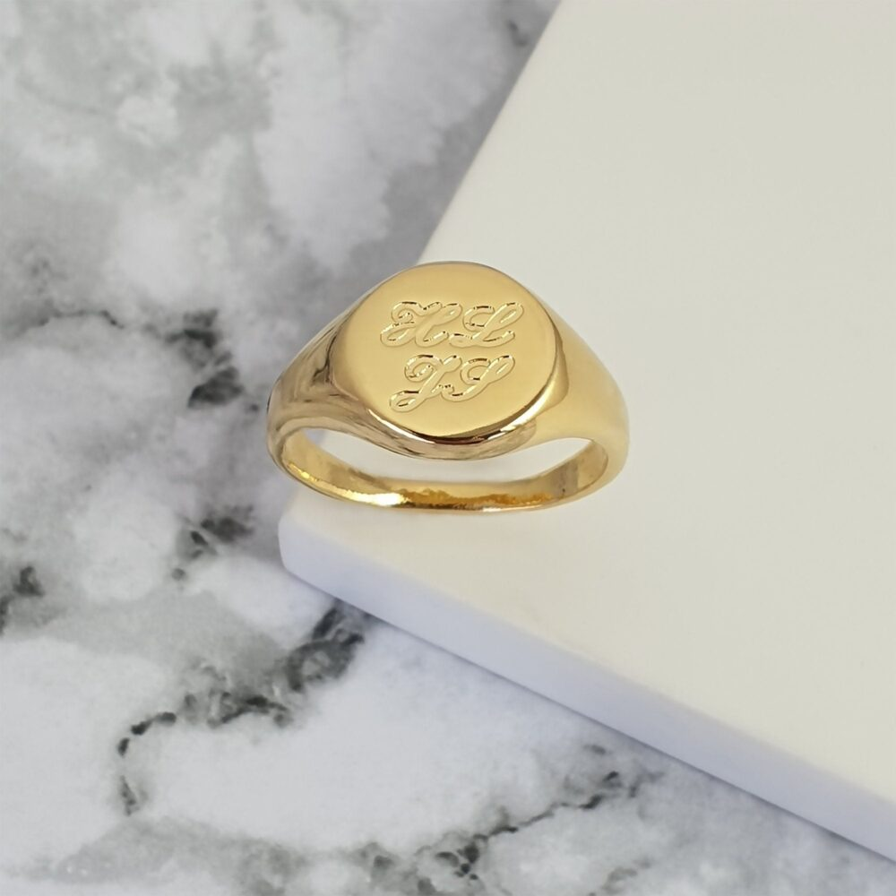 Men's Pinky Ring Engraved With Initial Letters, Personalized Gold Plated Signet For Men, Custom Men's