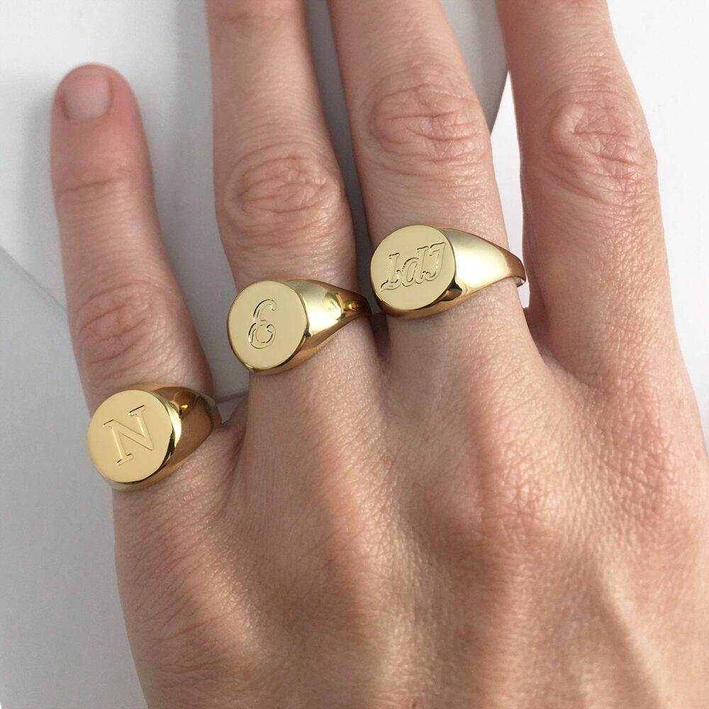 Engraved Signet Ring For Men/Women, Custom Pinky in Gold Plated Silver, Personalized Promise Engraved With Initials