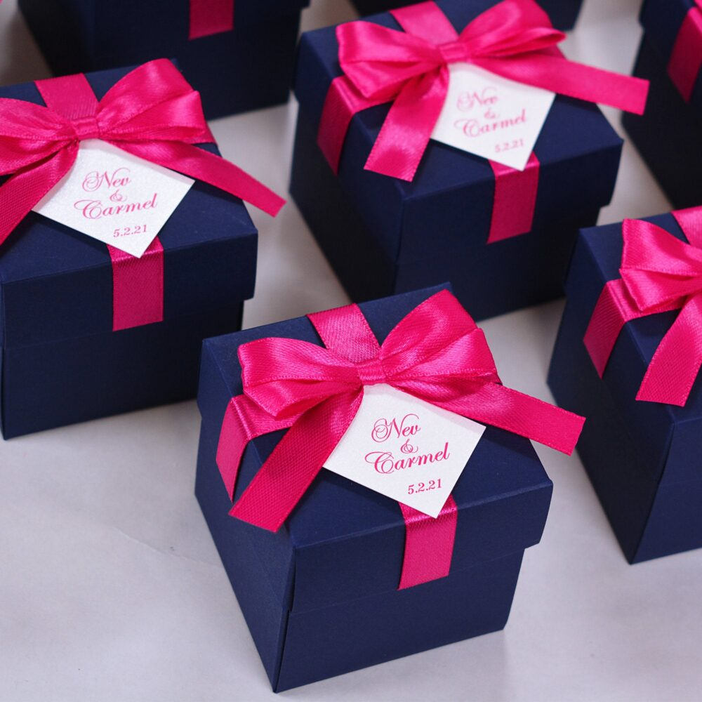 Elegant Wedding Favor Box With Hot Pink Satin Ribbon Bow & Your Names, Navy Blue Bonbonniere, Personalized Boxes For Guests