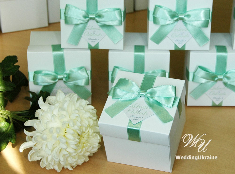 Wedding Gift Boxes With Light Mint Satin Ribbon, Bow & Names - Custom Personalized White Wedding Favor Box Gift Favors