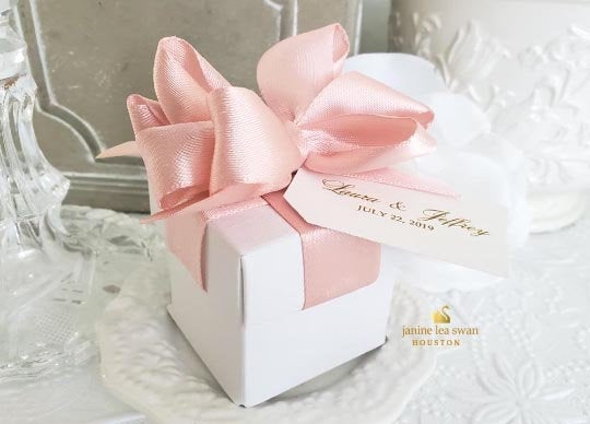 Wedding Favor Boxes, Party Blush Rose Gold Favor Boxes 2 in Piece Boxes 100 At 4.00 Ea
