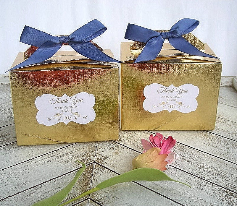 Wedding Favor Box Gold Linen Custom Boxes Turquoise Blush Navy Silver Personalized