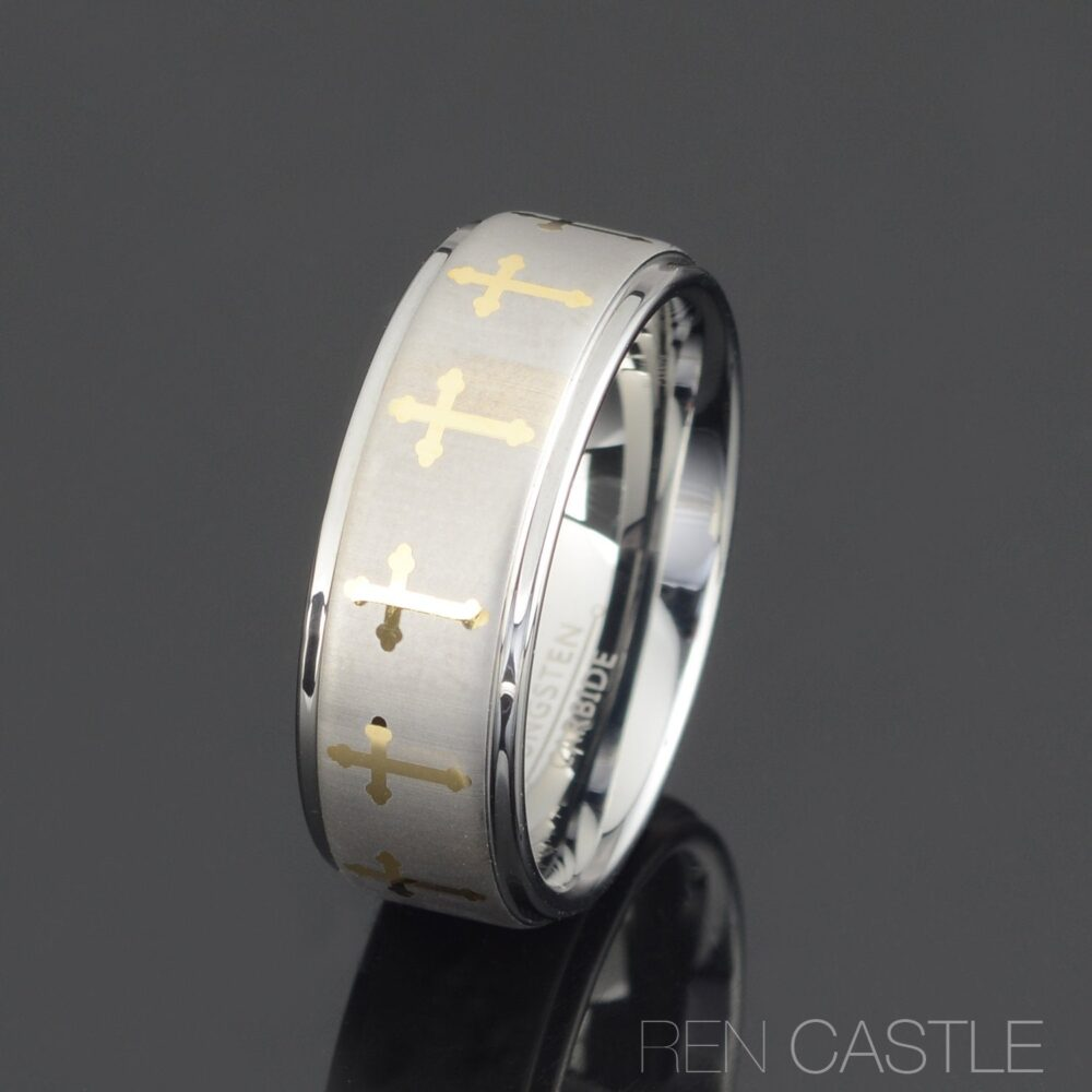 Gray Tungsten Ring Mens Cross Wedding Band 8mm Wedding Personalized Free Laser Engraving
