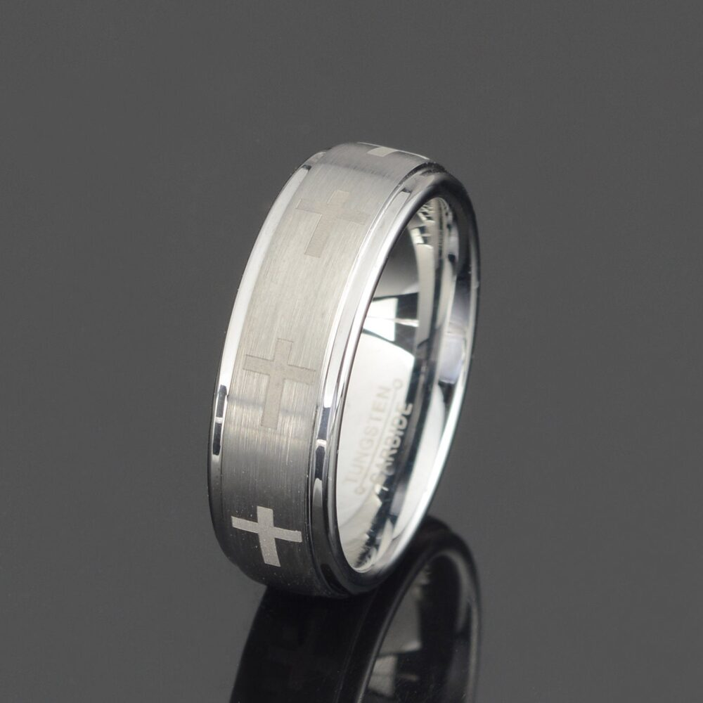 Gray Tungsten Ring Mens Cross Wedding Band 7mm Wedding Personalized Free Laser Engraving