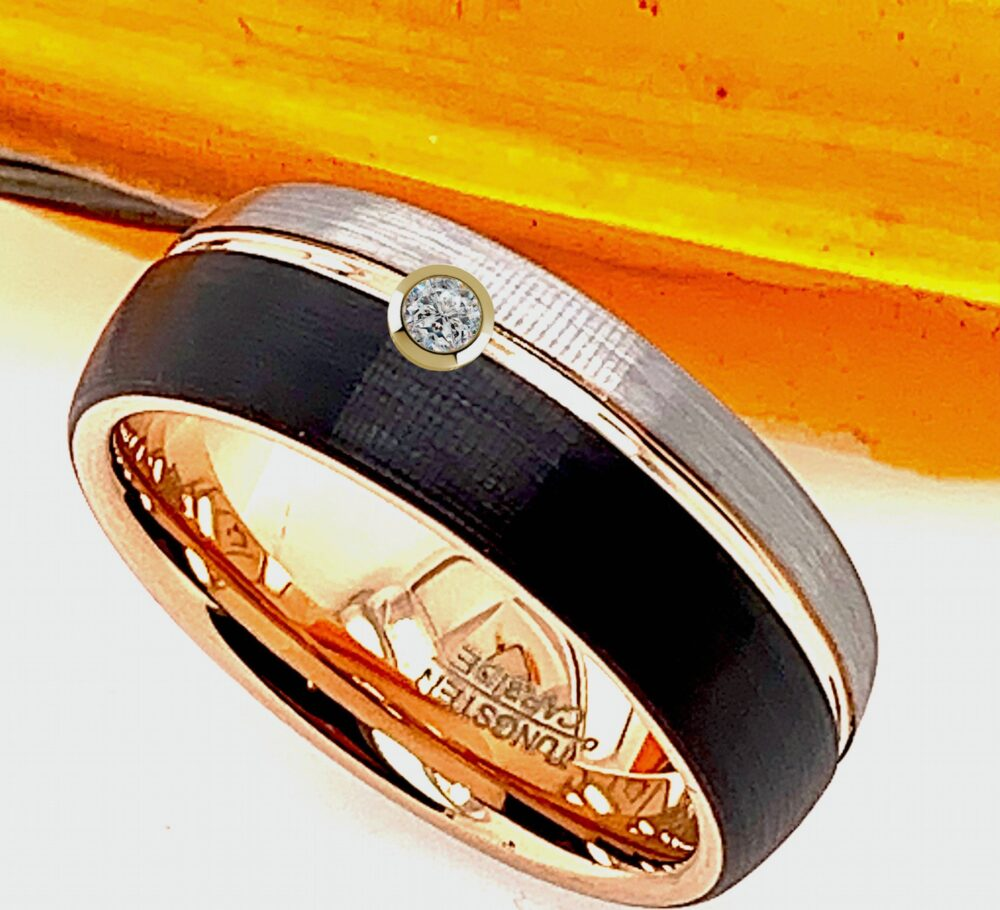 Diamond Tungsten Ring, Custom Engraved Mens Wedding Bands, Band, Personalized Ring