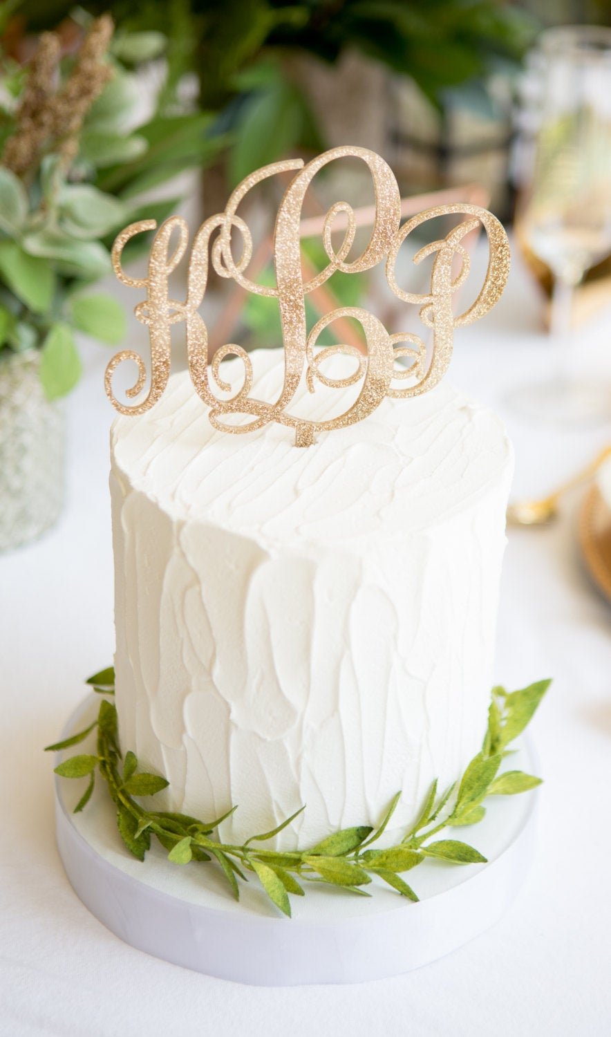 Monogram Cake Topper For Wedding, Rustic Wood Or Glitter Gold Decor, Script Personalized Wedding Party | Item - Mnt900