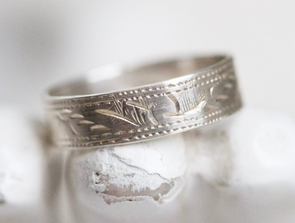 Art Deco Wedding Ring - Sterling Silver Band Size 6.5 Vintage Oxidized Jewelry