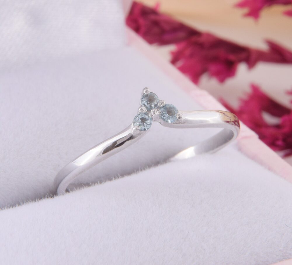 Womens Blue Topaz Curved Wedding Band, Simple & Delicate Chevron V Sterling Silver Band For Her