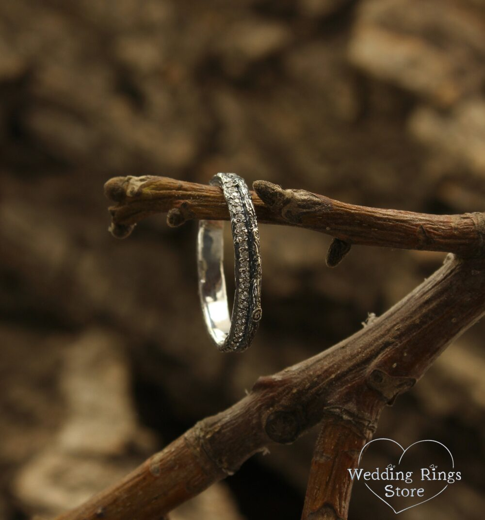 Unique Woodbark Dainty Wedding Band For Women, Her Nature Ring, Tree With Cz, Sterling Silver Band, Anniversary Gift