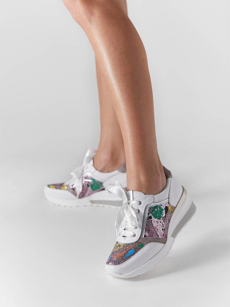 Women's White Suede Leather Sneakers With Van Gogh Fabric