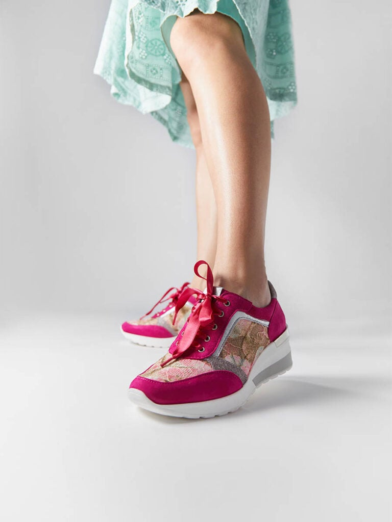 Women's Fuchsia Suede Leather Sneakers