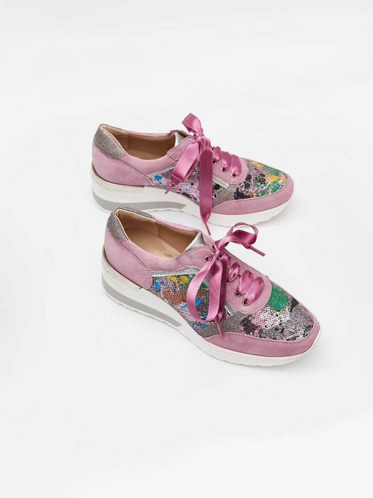 Women's Sneakers in Aloha Pink Suede Leather With Van Gogh Fabric