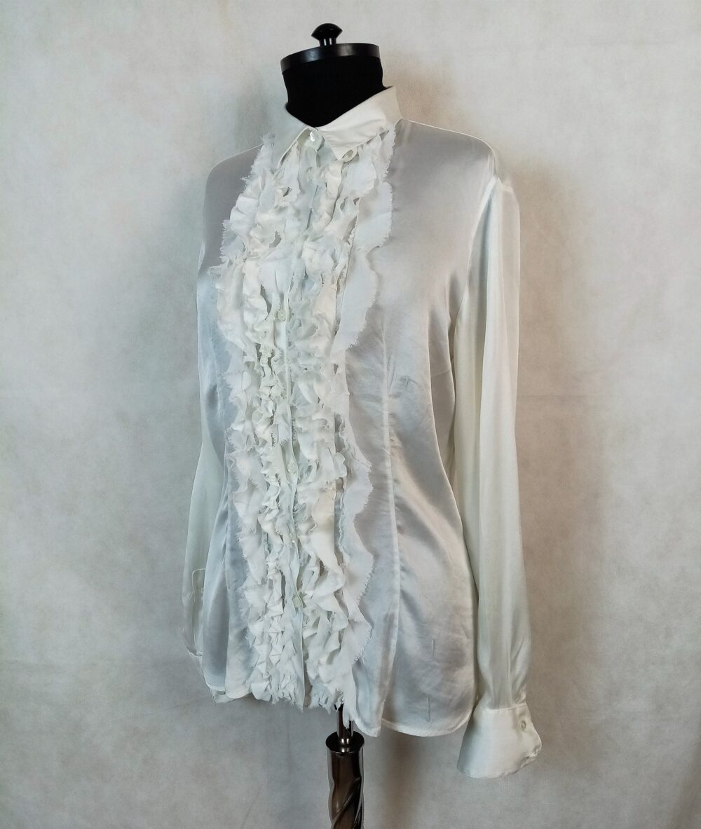White Pure Silk Ruffle Front Womens Shirt Blouse Size S Made in Italy
