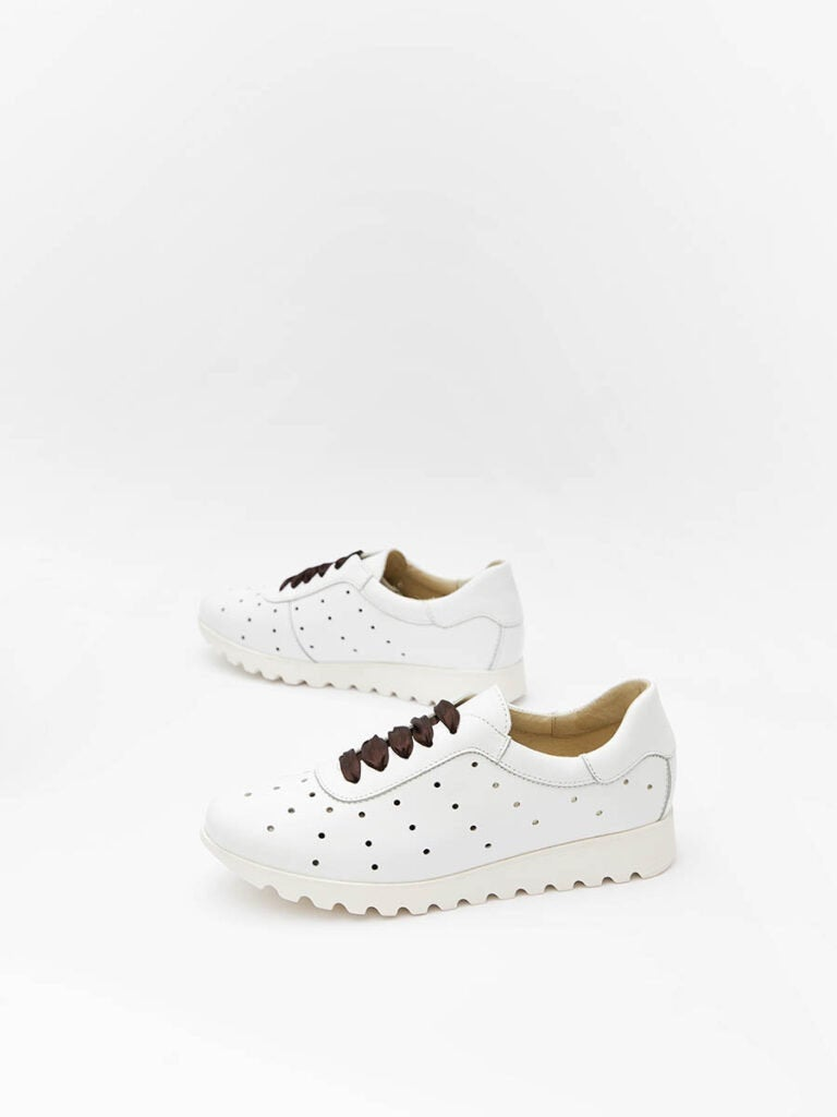 Women's White Leather Sneakers With Brown Satin Ribbons