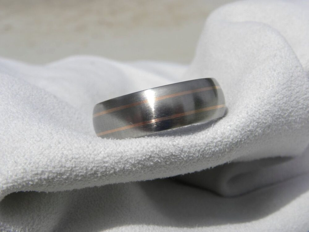 Wedding Ring, Titanium Band With Rose Gold Pinstripe Inlays, Choose Your Finish