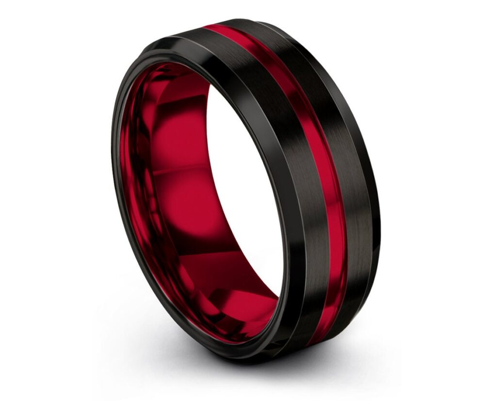 Black Tungsten Ring, His & Hers Wedding Bands, Center Engraving Red, Couple Matching Ring, Personalized Gift For Fathers, Promise Ring
