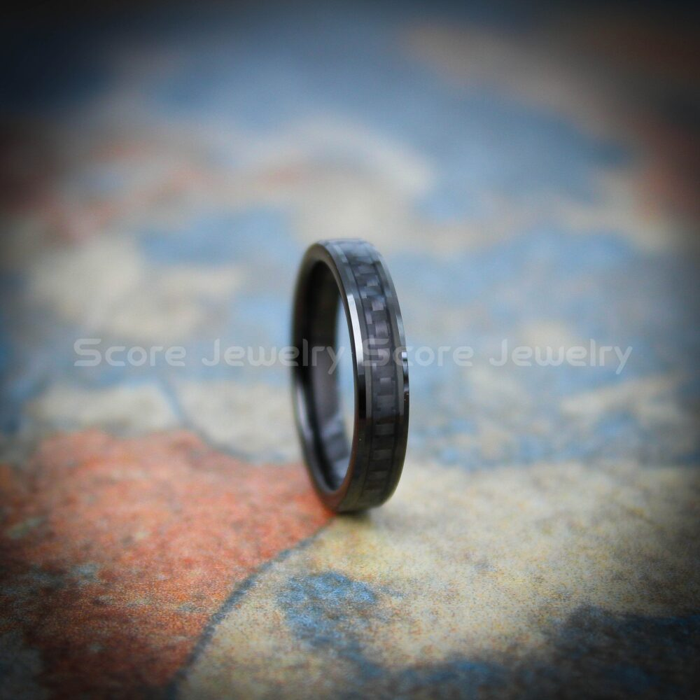 Black Wedding Ring, Band, 4mm Tungsten Band With Carbon Fiber Inlay, Ring