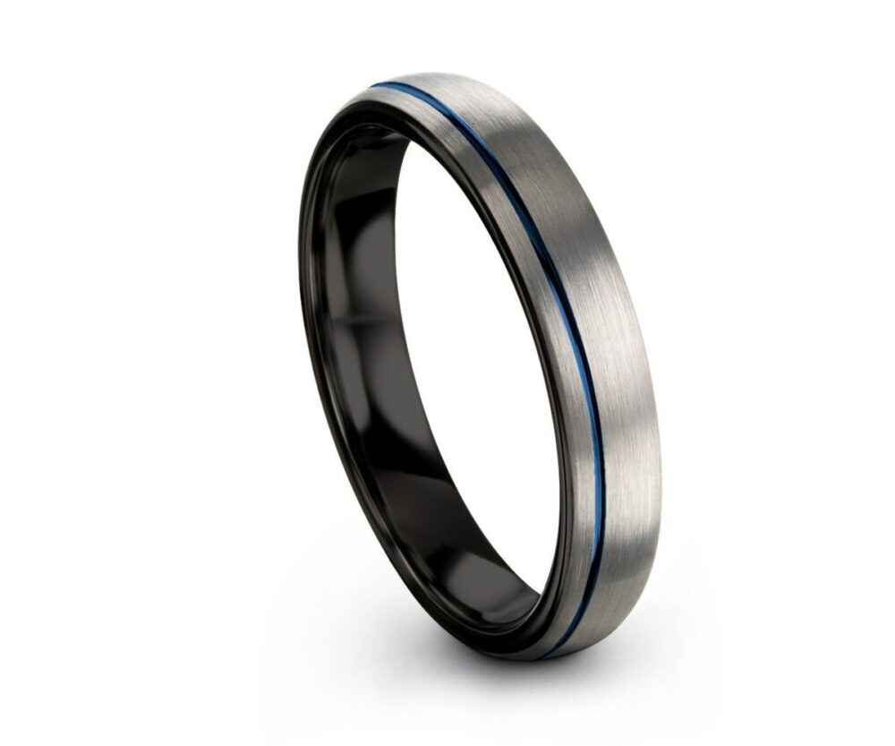 Blue Offset Line Unisex Wedding Band Brushed Silver, 4mm Tungsten Ring, Engagement Promise Perfect Gift Idea