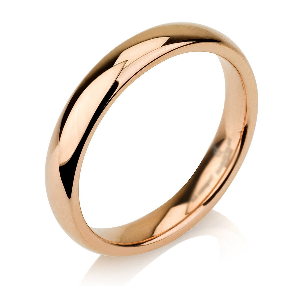 Rose Gold Tungsten Ring, Tungsen Wedding Band, Rose Gold, Dome Shape, Anniversary Ring, Engagement Ring, Unisex Tungsten, 5mm