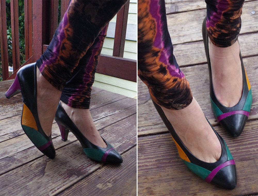 Living Color 1980's 90's Vintage Black Purple Teal + Yellow Soft Leather Designer Heels // By Nina Size 7.5 M Made in Spain
