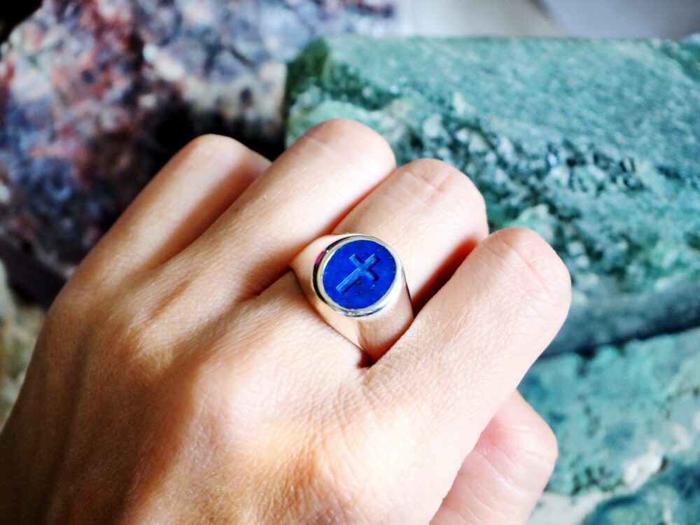 Christian Ring Lapis Intaglio Regnas Seal Sterling Silver 925