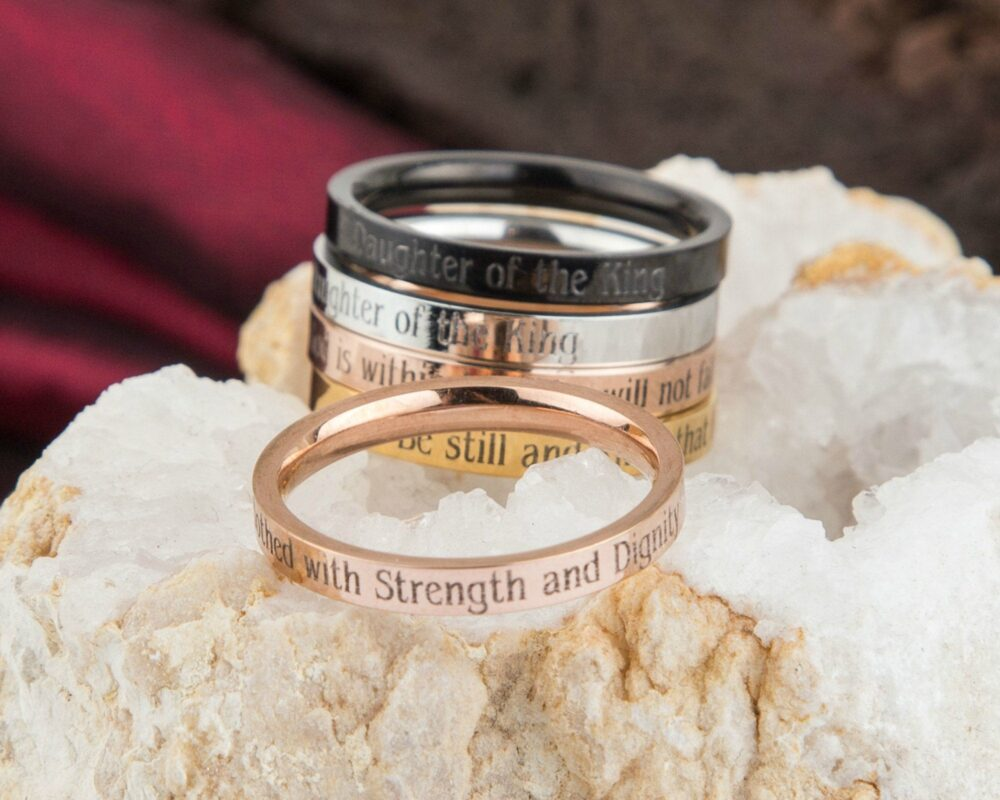 She Is Clothed With Strength Dignity Christian Ring, Proverbs 31 25, Bible Religious Woman Mom Gift, Wife Anniversary Gift