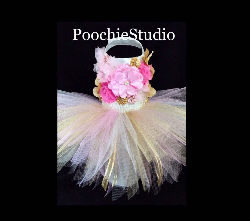 Dog Floral Princess Dress Flower Fairy Tutu Special Occasion Pink White Gold Pearls Xxs - Xl & Up