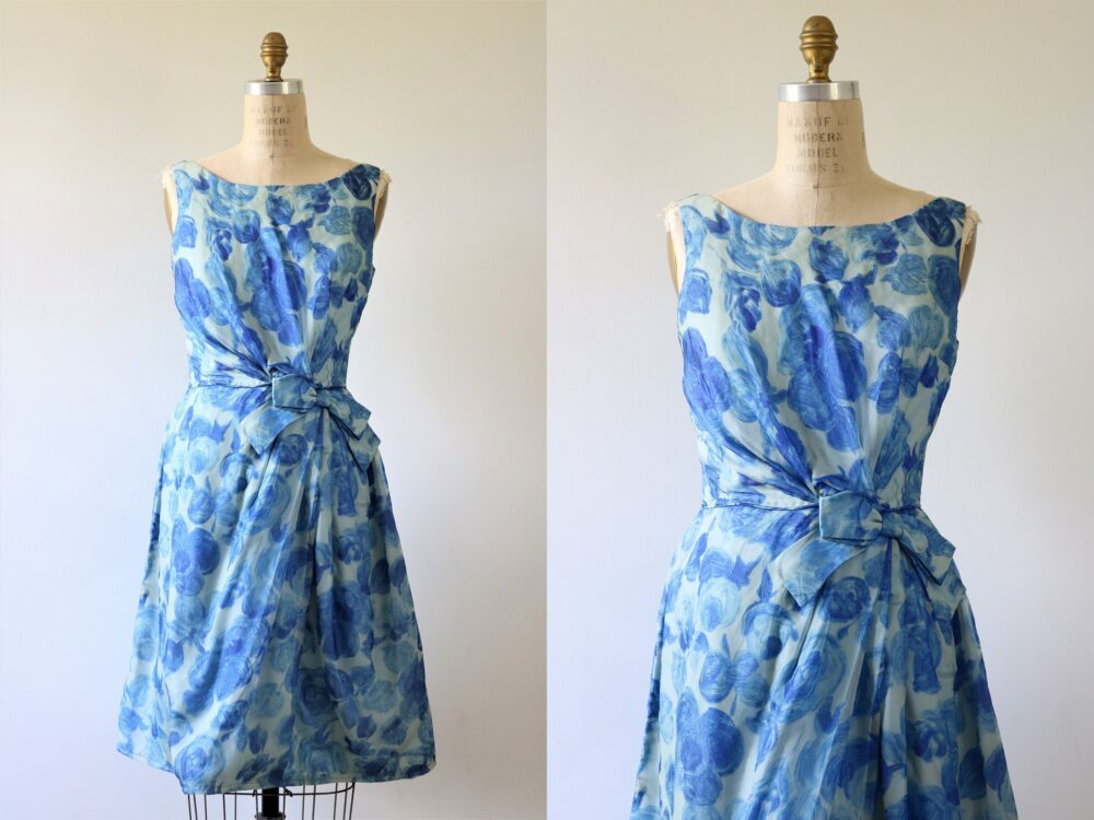 1960S Dress Special Event Chiffon Blue Floral Pattern Sleeveless