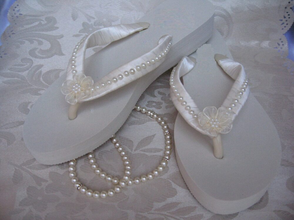 Sale - Ivory Flip Flops Bridal Or White Sandals With Pearls & Flowers