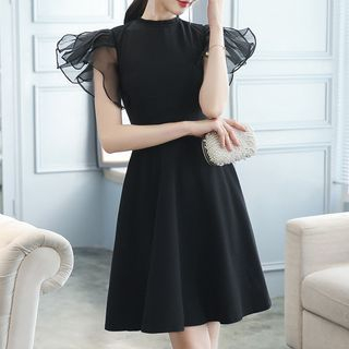 Short-Sleeve Sheer Panel A-Line Party Dress