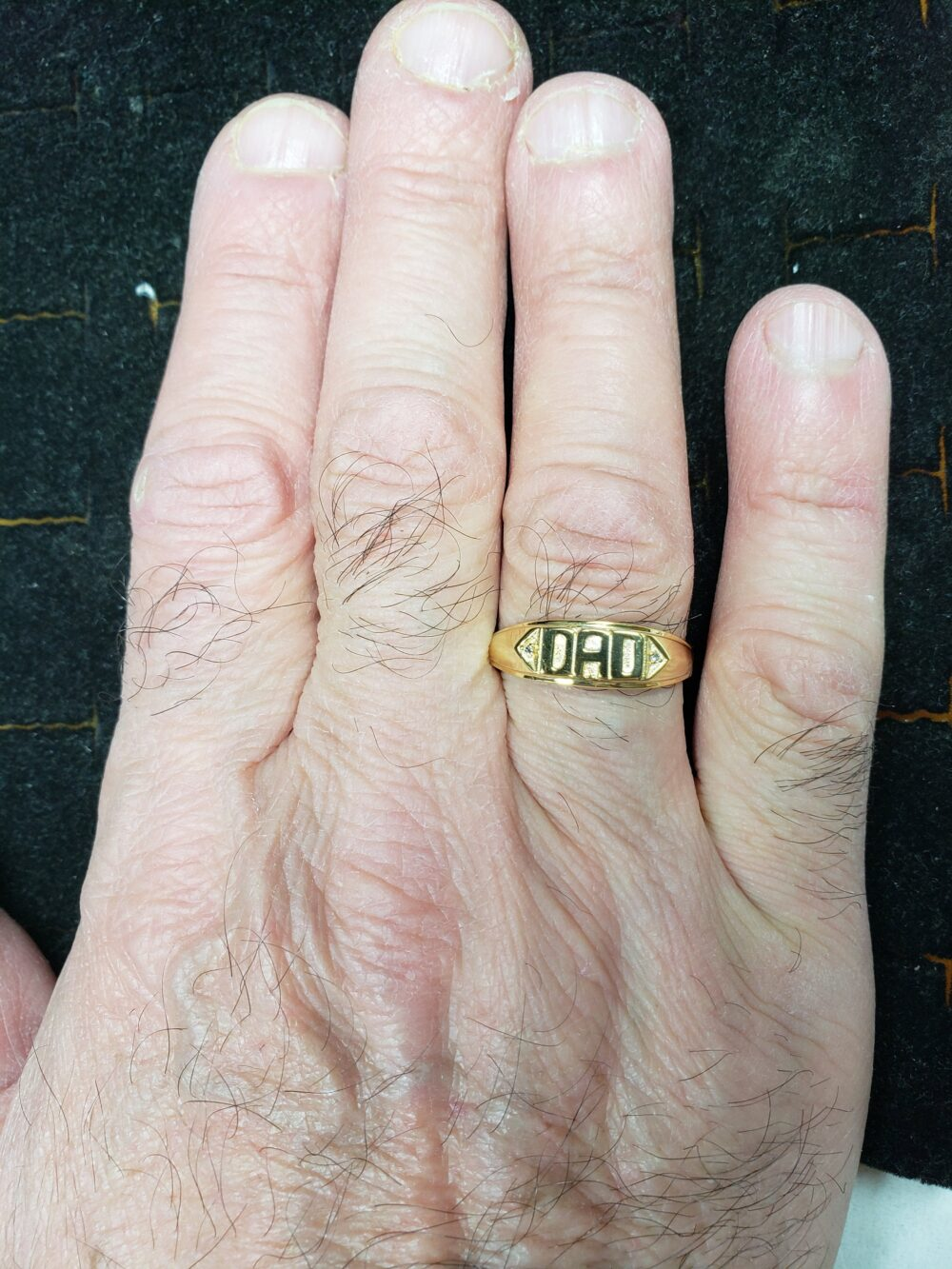 Genuine Natural Diamond Dad Engraved Ring Father's Day Dad Gift 14Kt Yellow Gold Rose Silver