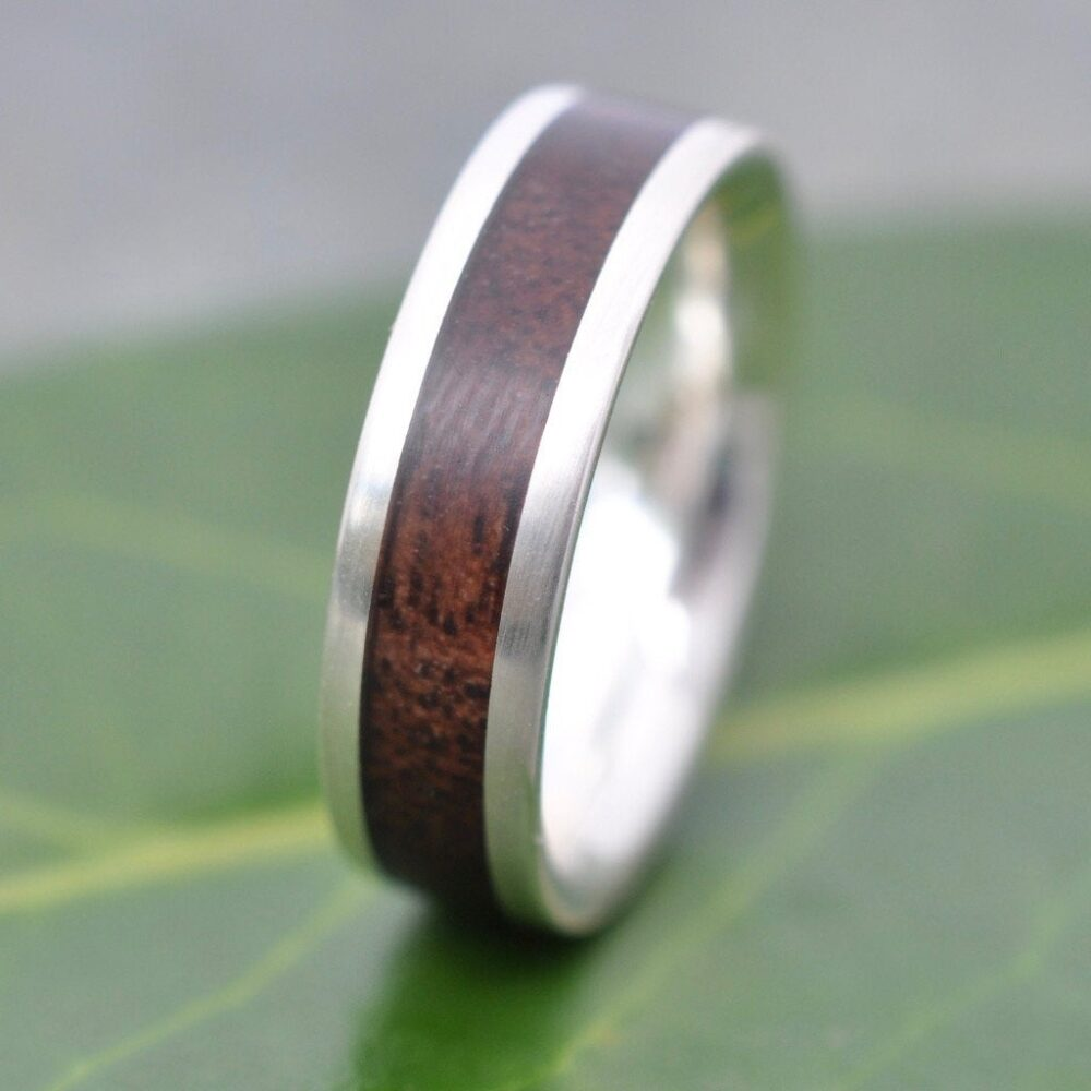 Wood Wedding Band, Walnut Ring, Comfort Fit Wooden Inlay Mens Womens Ring