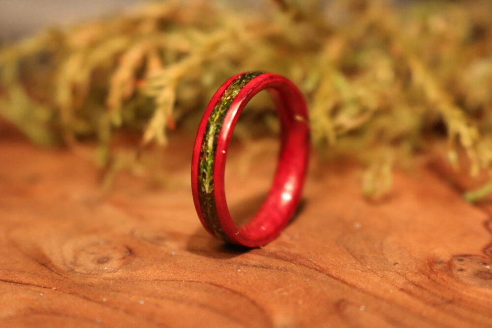 Personalized Wood Wedding Band, Wooden Ring, Redwood Burl Ring With Ocean Moss Inlay, Wood Rings