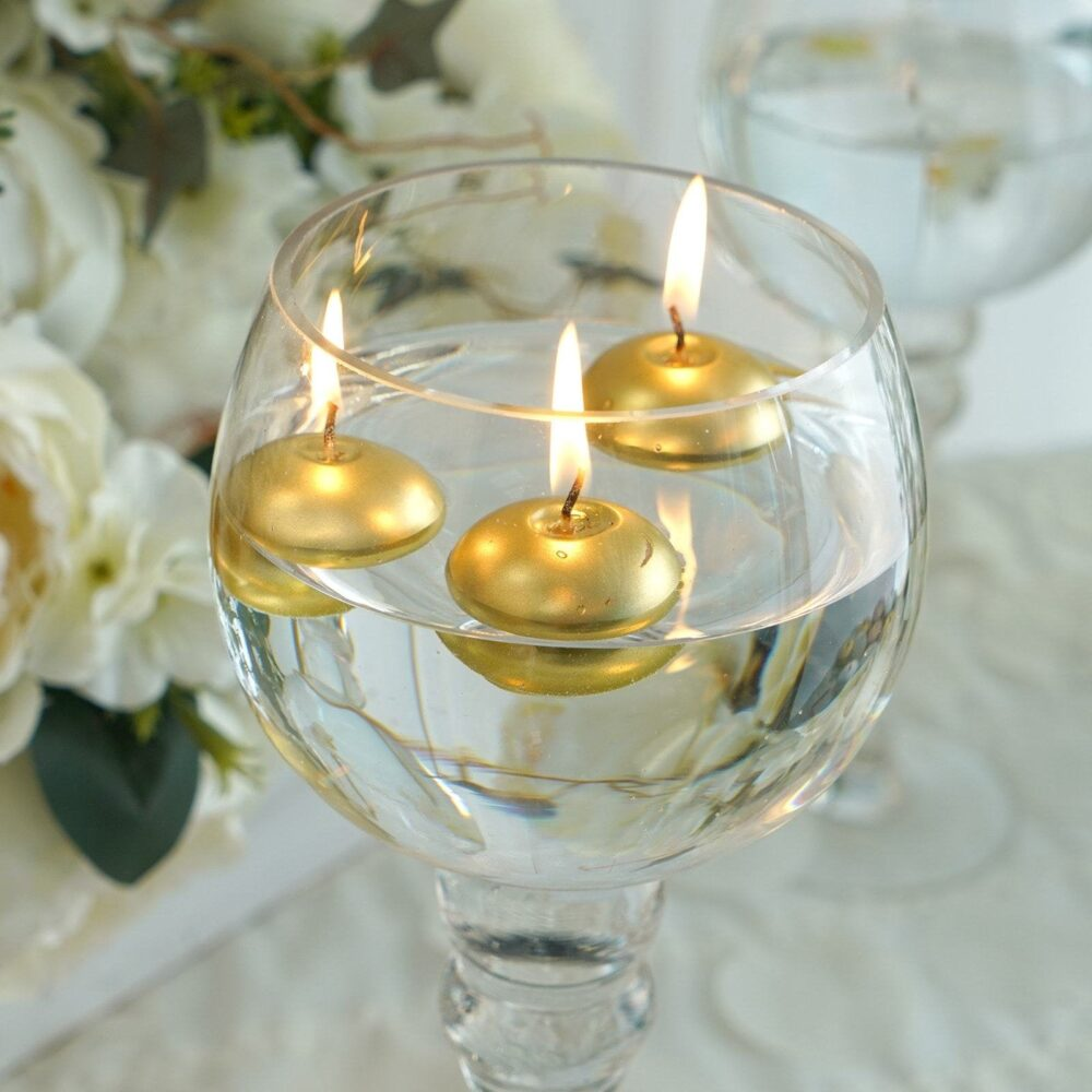 """12 Pcs 1.5"""" Gold Mini Disc Dripless Floating Candles, Candles For Table Decor, Home Candle Gift, Party Favors"""