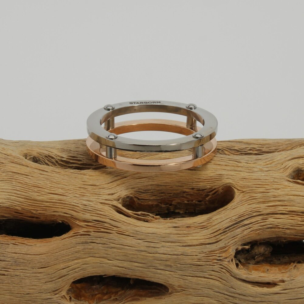 Unisex Band Ring, Double Mens Thumb Stainless Steel Copper