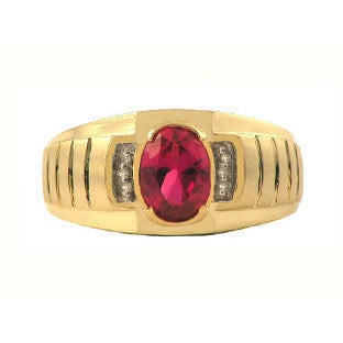 Diamond Ruby Men's Ring in White Rose Yellow Black Gold, July Birthstone Jewelry, Men Gemstone Ring, Mens Unique Rings Jewelry