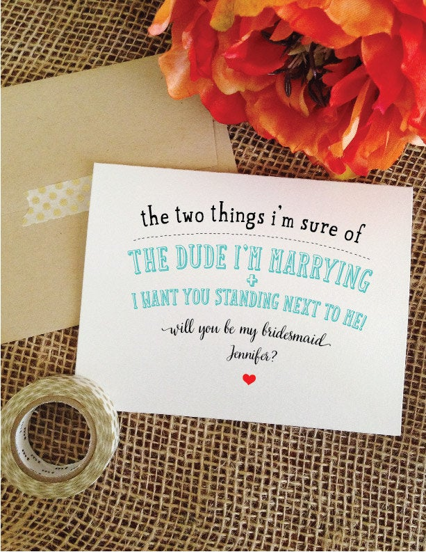 Set Of 5 Funny Bridesmaid Cards - Two Things Will You Be My Bridesmaid Maid Honor Dude Im Marrying Hjg8