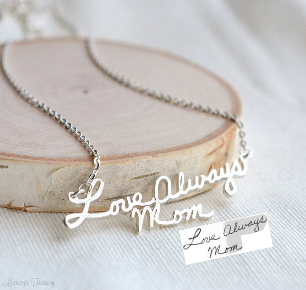 Handwriting Necklace - Signature Necklace Autograph Personalize Name Handmade Jewelry Stocking Stuffer