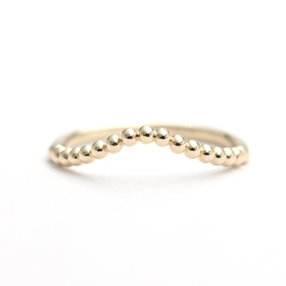 14K Solid Gold Curved Wedding Band/Dainty Band/Perfect Matching Band/stacking Ring/Gift For Her/Wedding Band/Unique Band/Gold Band