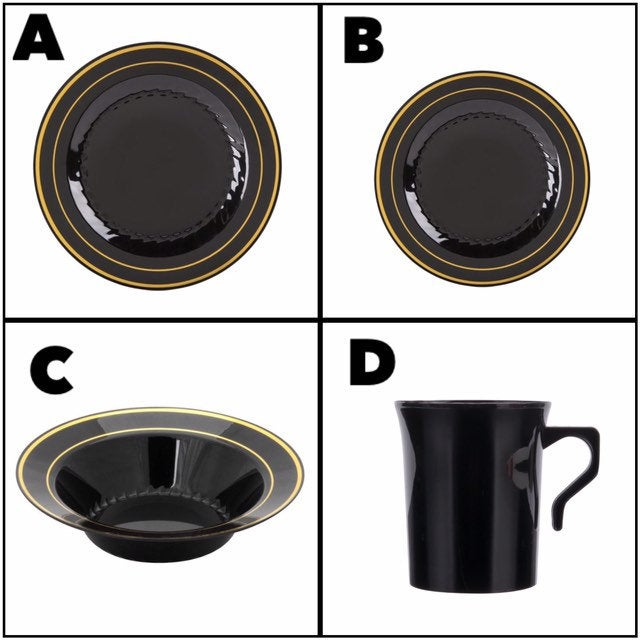 50Ct Black Disposable Plastic Plates, Bowls, Cups, Party Supplies, Party, Tableware, Wedding Bowls