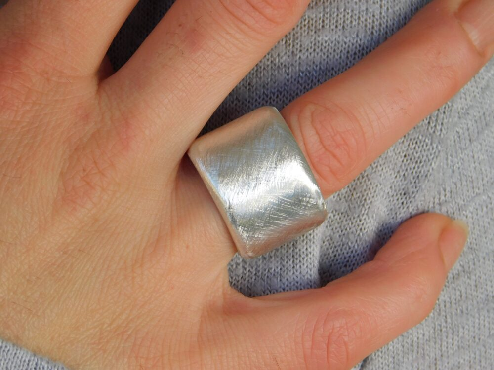 Raw Brushed Wedding Band, Cross Band Ring, Band Ring For Man, Woman, Chunky Thick Wide