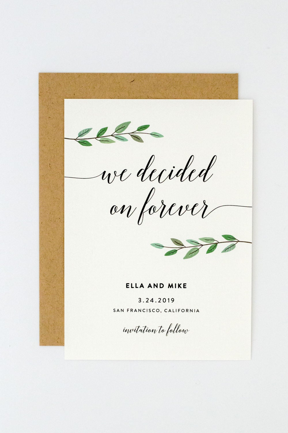 Greenery Wedding Save The Date, Chic Calligraphy Modern Date | Ella Suite