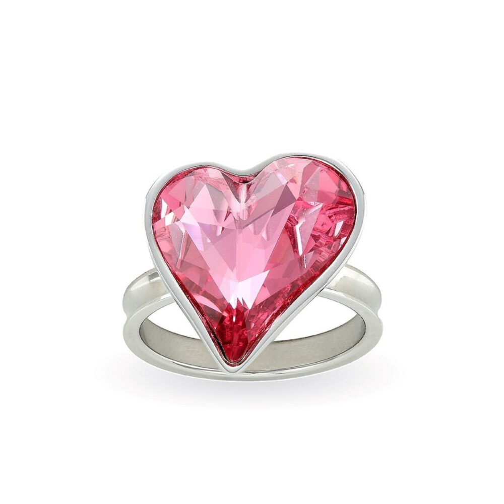 Swarovski Pink Heart Ring Big Sparkly Crystal Shaped Cocktail Statement Handmade Romantic Gift For Women