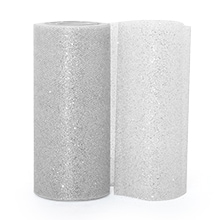 Silver Sparkling Tulle Roll Colored - 6 X 25yd - Fabric - Width: 6 by Paper Mart