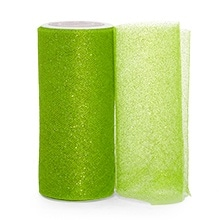 Apple Green Sparkling Tulle Roll Colored - 6 X 25yd - Fabric - Width: 6 by Paper Mart
