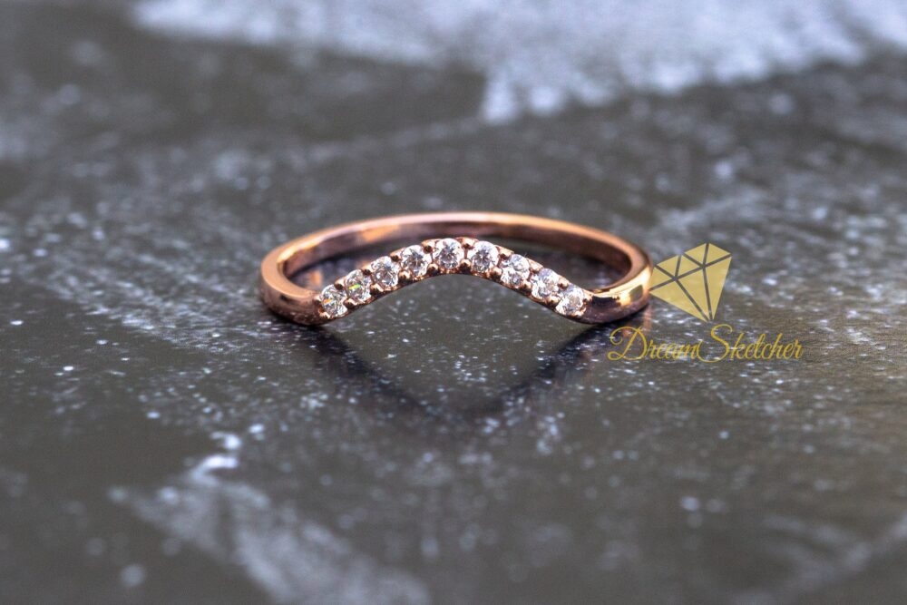 Solid Gold Moissanite Curved Wedding Band, Rose Gold, Eternity Ring, Stacking Ring, Engagement Ring For Her