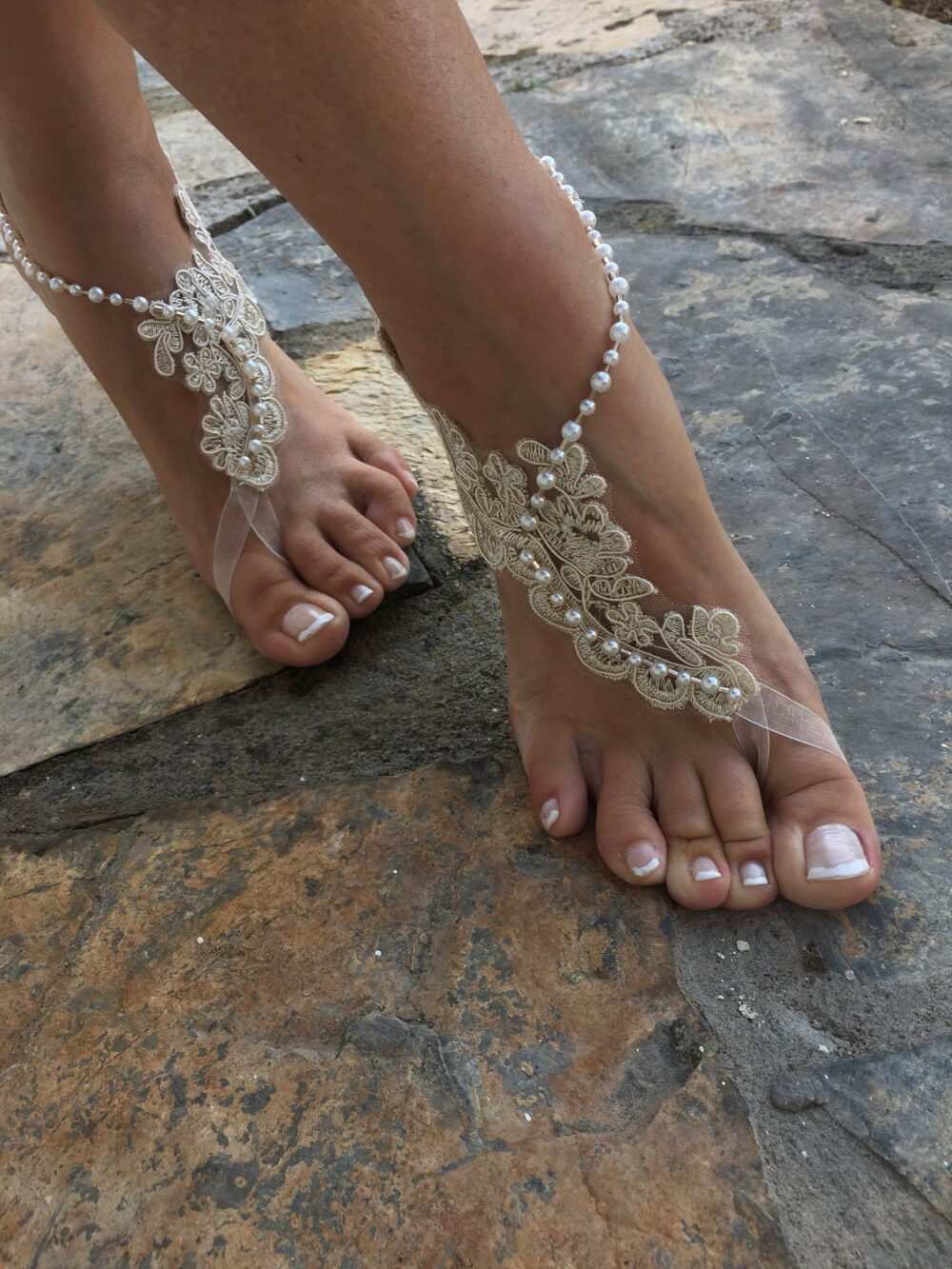 Gold & Cream French Lace Pearls Barefoot Sandals. Bride Bridesmaids Barefoot Sandals..beach Wedding Sandals..bridesmaid Gift.. La